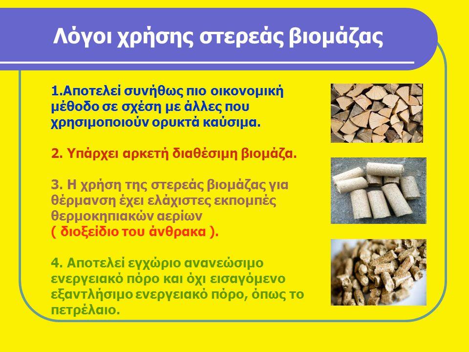 Λόγοι χρήσης στερεάς βιομάζας 1.Αποτελεί συνήθως πιο οικονομική μέθοδο σε σχέση με άλλες που χρησιμοποιούν ορυκτά καύσιμα. 2. Υπάρχει αρκετή διαθέσιμη
