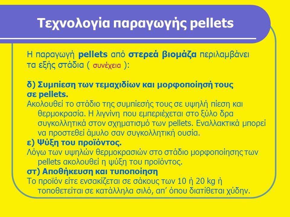 Τεχνολογία παραγωγής pellets Η παραγωγή pellets από στερεά βιομάζα περιλαμβάνει τα εξής στάδια ( συνέχεια ): δ) Συμπίεση των τεμαχιδίων και μορφοποίησ