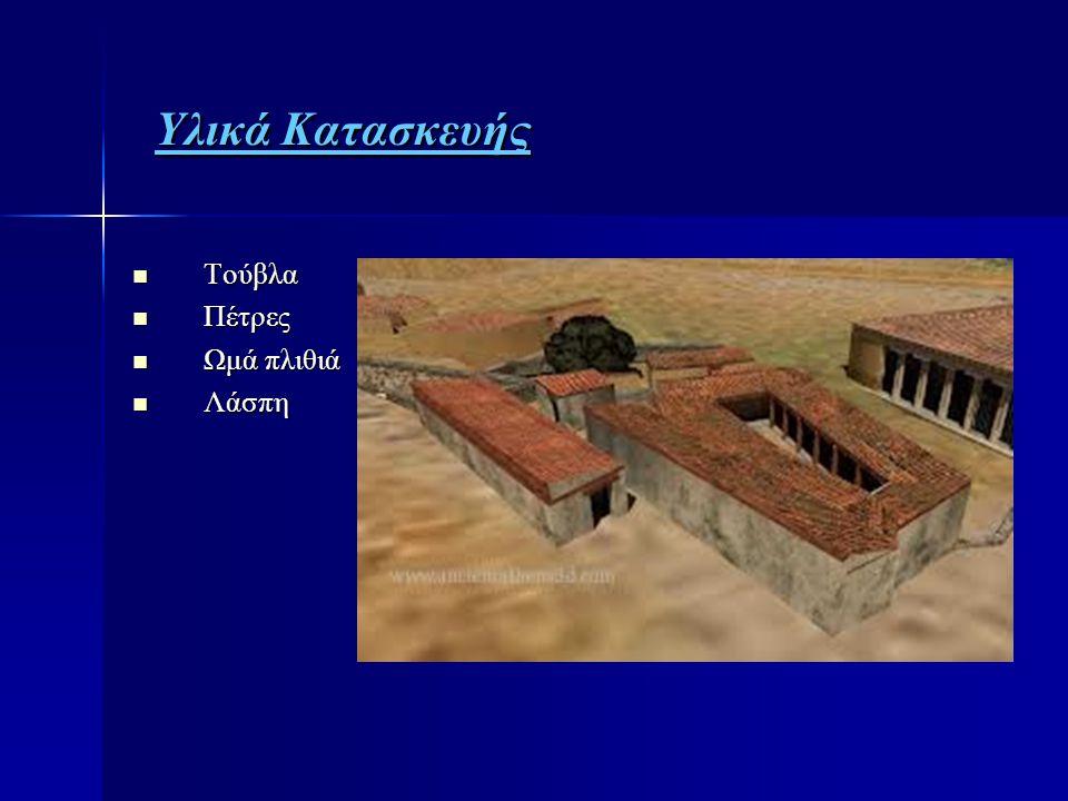 Υλικά Κατασκευής Υλικά Κατασκευής  Τούβλα  Πέτρες  Ωμά πλιθιά  Λάσπη