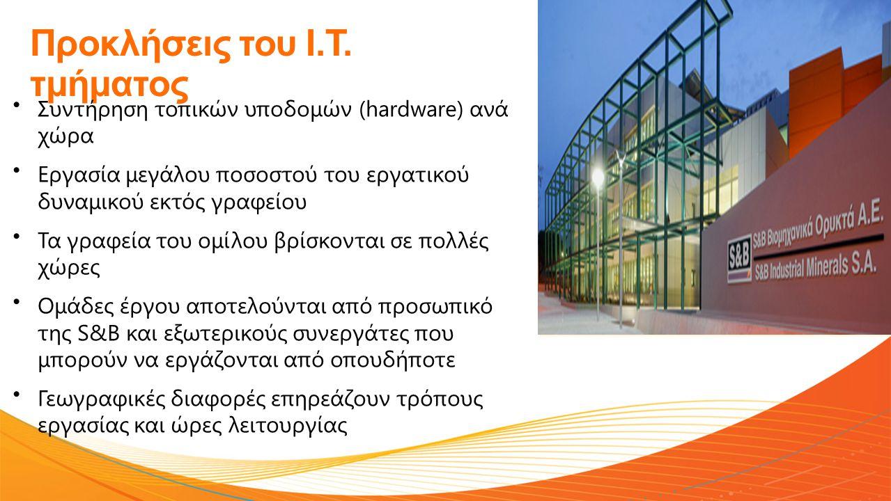 Προκλήσεις του Ι.Τ. τμήματος • Συντήρηση τοπικών υποδομών (hardware) ανά χώρα • Εργασία μεγάλου ποσοστού του εργατικού δυναμικού εκτός γραφείου • Τα γ