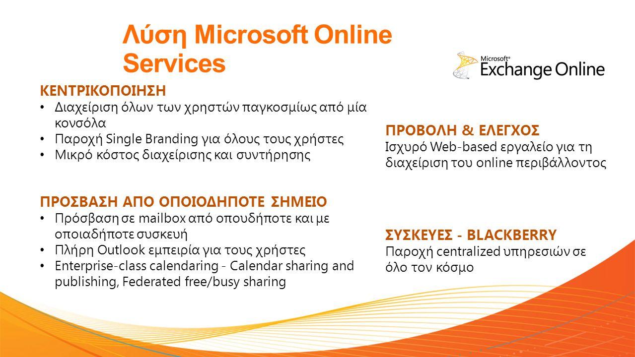 Λύση Microsoft Online Services KENTΡΙΚΟΠΟΙΗΣΗ • Διαχείριση όλων των χρηστών παγκοσμίως από μία κονσόλα • Παροχή Single Branding για όλους τους χρήστες • Μικρό κόστος διαχείρισης και συντήρησης ΠΡΟΣΒΑΣΗ ΑΠΟ ΟΠΟΙΟΔΗΠΟΤΕ ΣΗΜΕΙΟ • Πρόσβαση σε mailbox από οπουδήποτε και με οποιαδήποτε συσκευή • Πλήρη Outlook εμπειρία για τους χρήστες • Enterprise-class calendaring - Calendar sharing and publishing, Federated free/busy sharing ΠΡΟΒΟΛΗ & ΕΛΕΓΧΟΣ Ισχυρό Web-based εργαλείο για τη διαχείριση του online περιβάλλοντος ΣΥΣΚΕΥΕΣ - BLACKBERRY Παροχή centralized υπηρεσιών σε όλο τον κόσμο