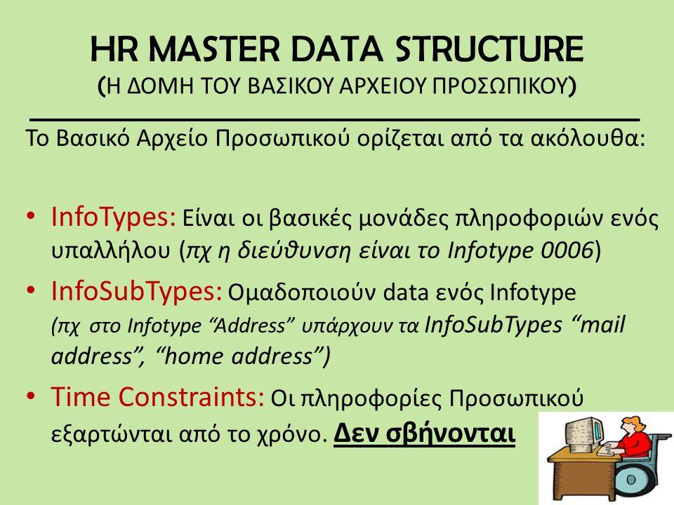 HR MASTER DATA STRUCTURE ( Η ΔΟΜΗ ΤΟΥ ΒΑΣΙΚΟΥ ΑΡΧΕΙΟΥ ΠΡΟΣΩΠΙΚΟΥ ) Το Βασικό Αρχείο Προσωπικού ορίζεται από τα ακόλουθα: • InfoTypes: Είναι οι βασικές μονάδες πληροφοριών ενός υπαλλήλου (πχ η διεύθυνση είναι το Infotype 0006) • InfoSubTypes: Ομαδοποιούν data ενός Infotype (πχ στο Infotype Address υπάρχουν τα InfoSubTypes mail address , home address ) • Time Constraints: Οι πληροφορίες Προσωπικού εξαρτώνται από το χρόνο.