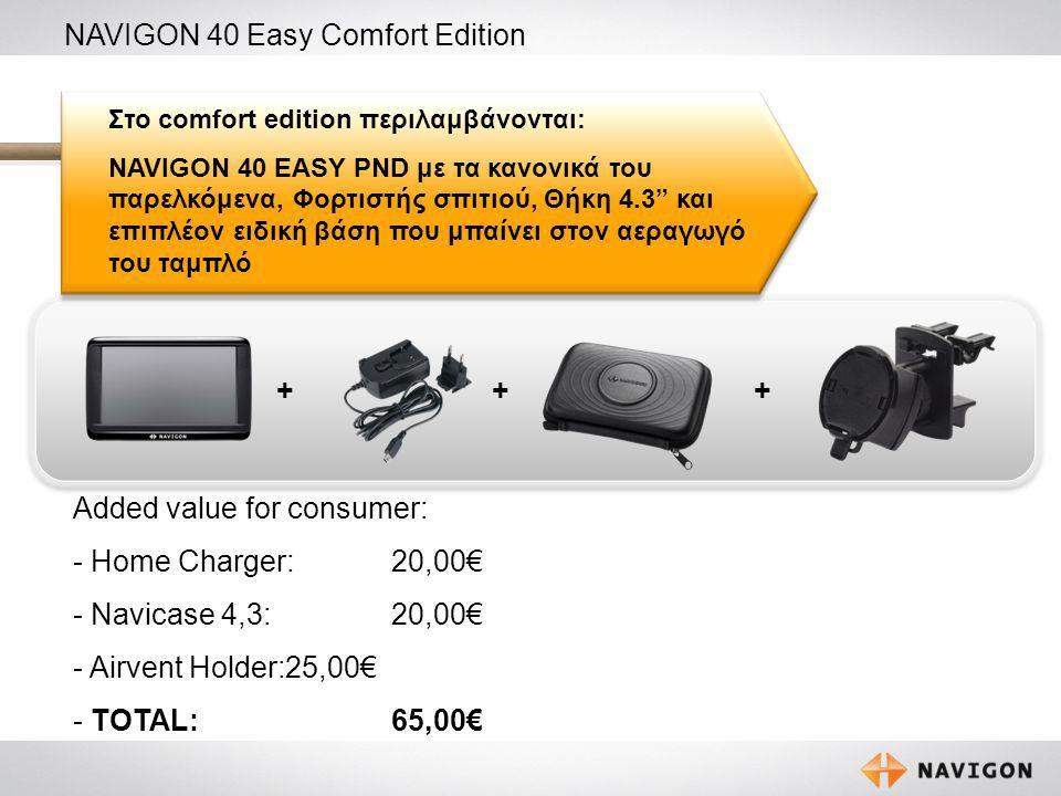 3 NAVIGON 40 Easy Comfort Edition +++ Στο comfort edition περιλαμβάνονται: NAVIGON 40 EASY PND με τα κανονικά του παρελκόμενα, Φορτιστής σπιτιού, Θήκη 4.3 και επιπλέον ειδική βάση που μπαίνει στον αεραγωγό του ταμπλό Added value for consumer: - Home Charger: 20,00€ - Navicase 4,3: 20,00€ - Airvent Holder:25,00€ - TOTAL:65,00€