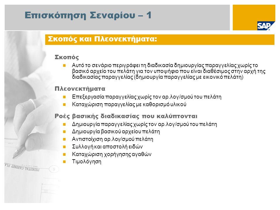 Επισκόπηση Σεναρίου – 2 Απαιτείται  Το πακέτο βελτίωσης 4 του SAP για SAP ERP 6.0 Ρόλοι εταιρίας στις ροές διαδικασίας  Διαχειριστής Πωλήσεων  Υπάλληλος Αποθήκης  Διαχειριστής Τιμολόγησης Εφαρμογές SAP που Απαιτούνται: