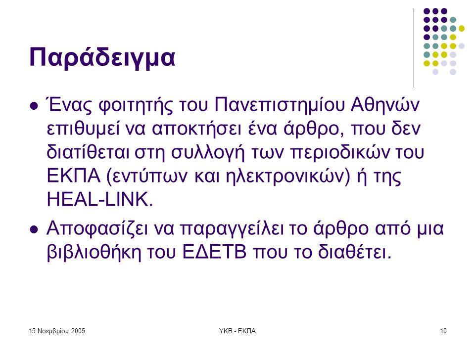 15 Νοεμβρίου 2005ΥΚΒ - ΕΚΠΑ10 Παράδειγμα  Ένας φοιτητής του Πανεπιστημίου Αθηνών επιθυμεί να αποκτήσει ένα άρθρο, που δεν διατίθεται στη συλλογή των περιοδικών του ΕΚΠΑ (εντύπων και ηλεκτρονικών) ή της HEAL-LINK.