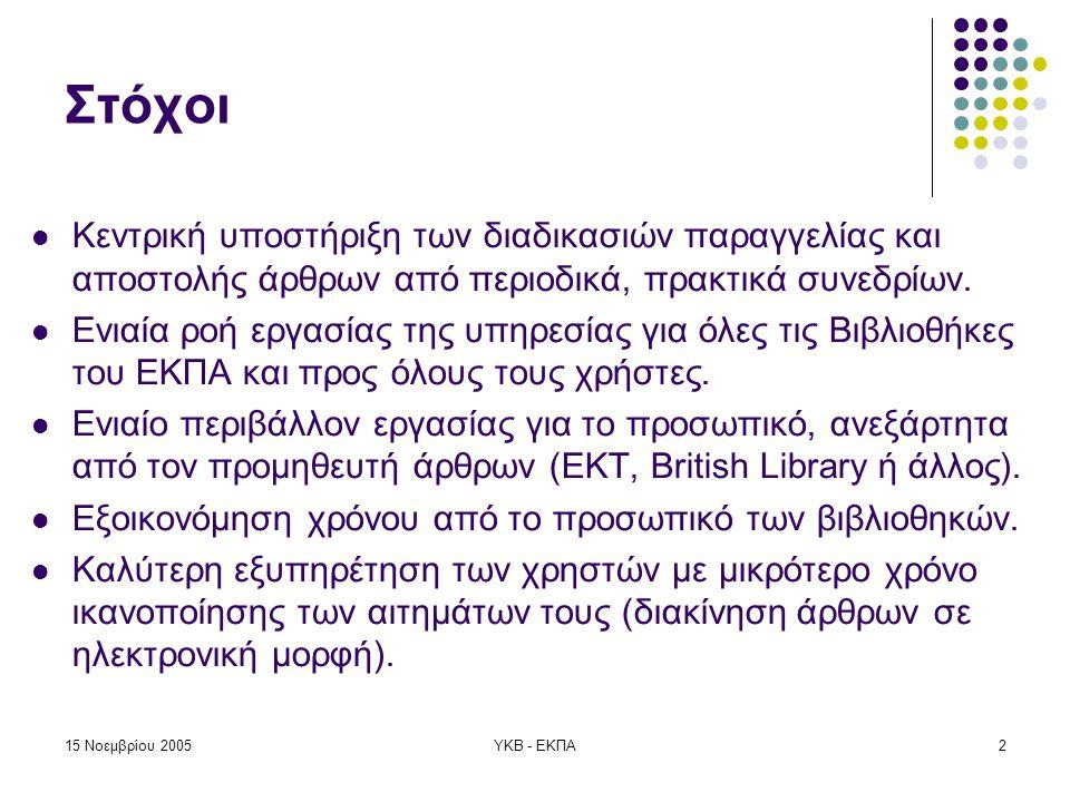 15 Νοεμβρίου 2005ΥΚΒ - ΕΚΠΑ3 Γενικά Στοιχεία  Έναρξη υπηρεσίας: Ιούνιος 2004  Συμμετοχή των 10 από τις 47 βιβλιοθήκες του Εθνικού και Καποδιστριακού Πανεπιστημίου Αθηνών (ΕΚΠΑ).