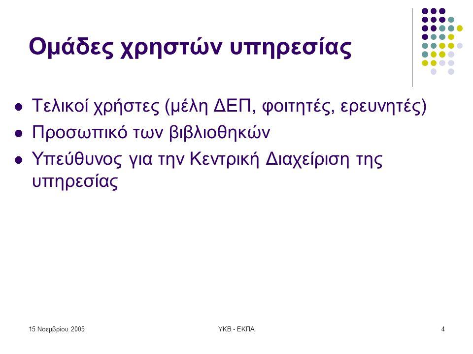 15 Νοεμβρίου 2005ΥΚΒ - ΕΚΠΑ5 Σενάρια Χρήσης 1.
