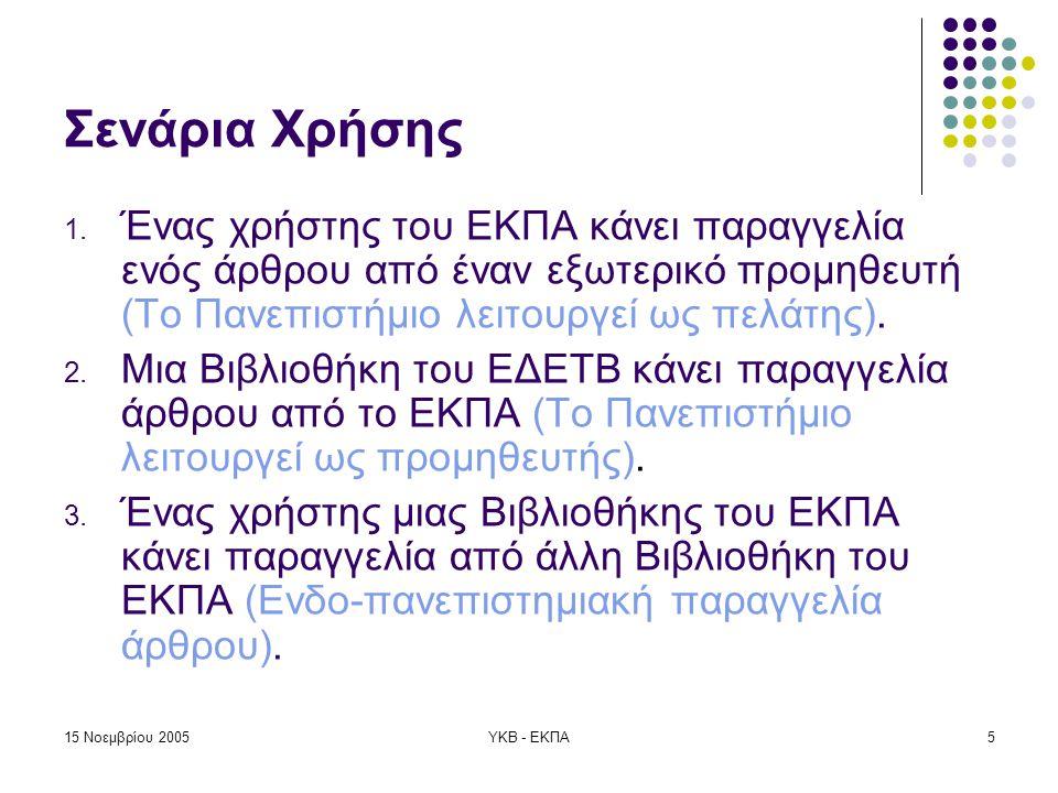 15 Νοεμβρίου 2005ΥΚΒ - ΕΚΠΑ16 Προώθηση Αίτησης στο ΕΚΤ