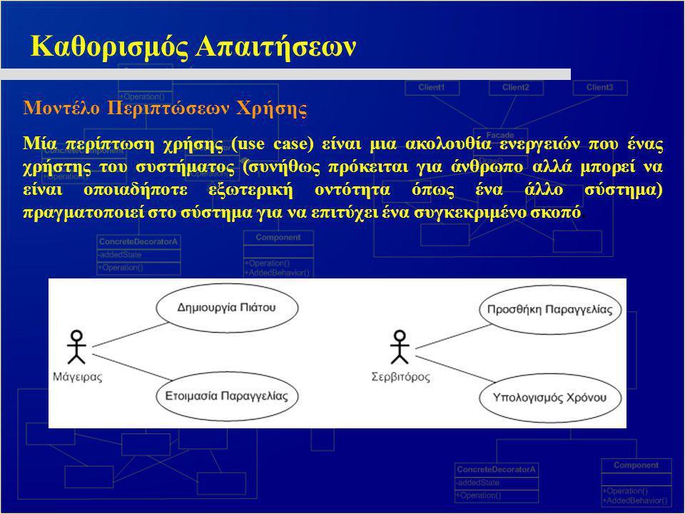 Καθορισμός Απαιτήσεων Μοντέλο Περιπτώσεων Χρήσης Μία περίπτωση χρήσης (use case) είναι μια ακολουθία ενεργειών που ένας χρήστης του συστήματος (συνήθω