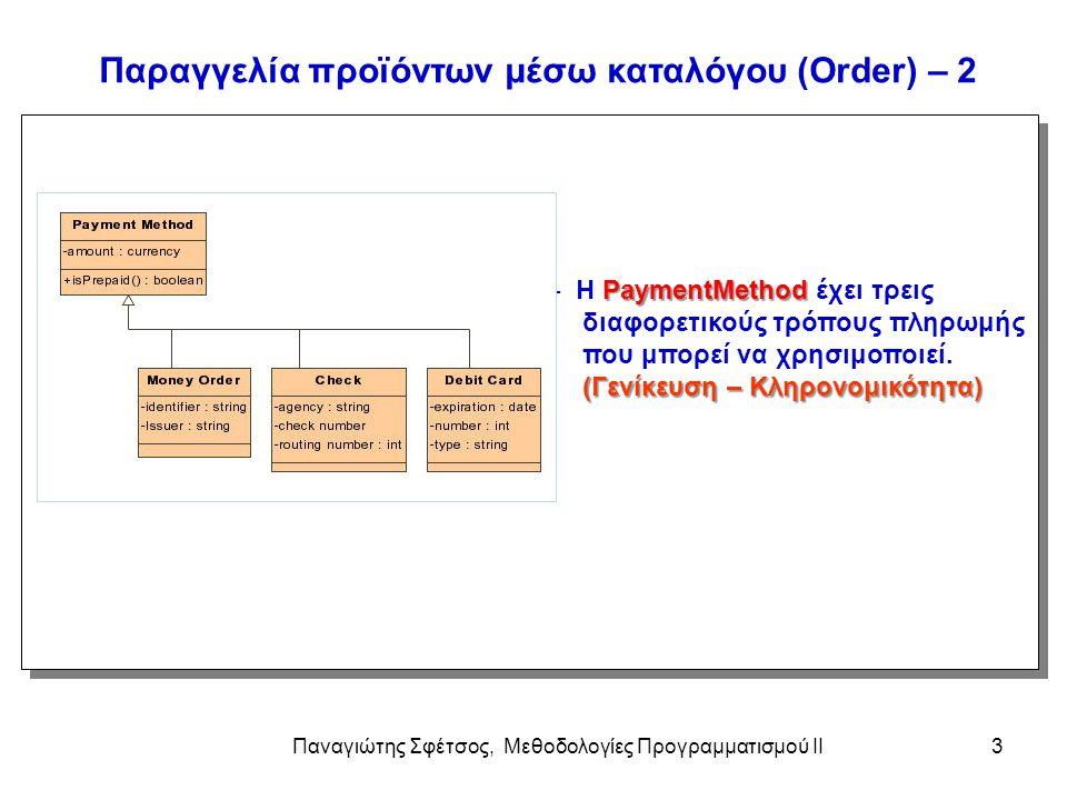 Παναγιώτης Σφέτσος, Μεθοδολογίες Προγραμματισμού ΙΙ3 Παραγγελία προϊόντων μέσω καταλόγου (Order) – 2 PaymentMethod - H PaymentMethod έχει τρεις διαφορ