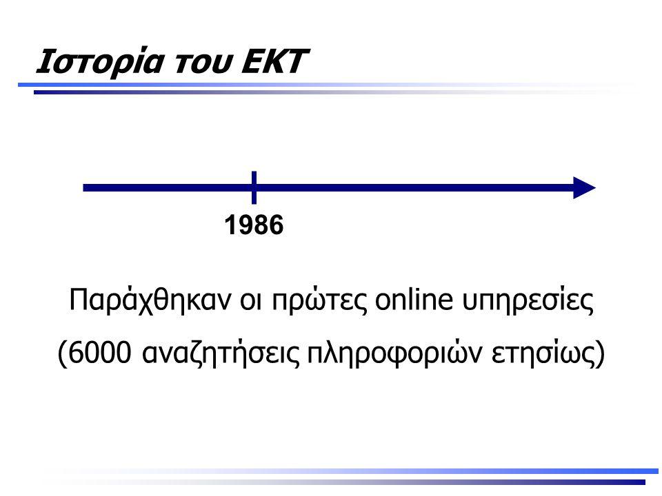 Ιστορία του ΕΚΤ Παράχθηκαν οι πρώτες online υπηρεσίες (6000 αναζητήσεις πληροφοριών ετησίως) 1986