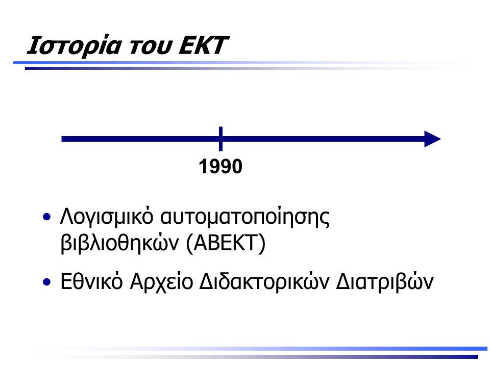 Ιστορία του ΕΚΤ •Λογισμικό αυτοματοποίησης βιβλιοθηκών (ΑΒΕΚΤ) •Εθνικό Αρχείο Διδακτορικών Διατριβών 1990