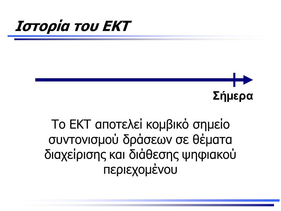 Ιστορία του ΕΚΤ Το ΕΚΤ αποτελεί κομβικό σημείο συντονισμού δράσεων σε θέματα διαχείρισης και διάθεσης ψηφιακού περιεχομένου Σήμερα