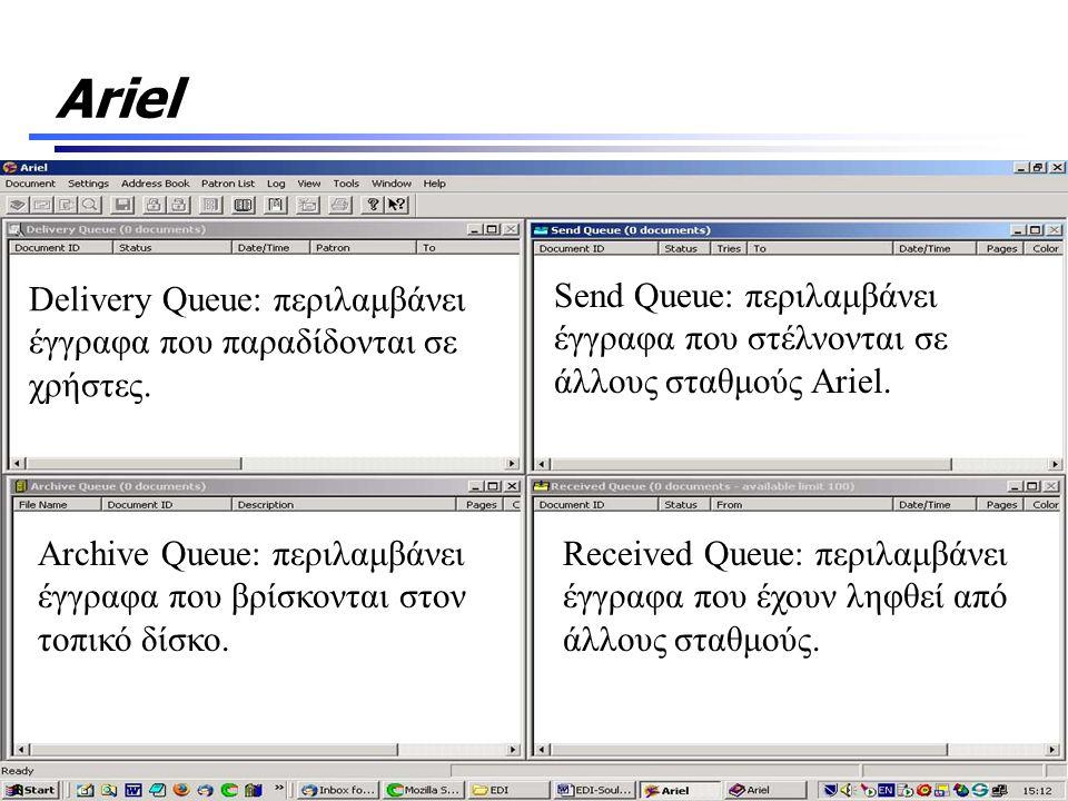 Ariel Delivery Queue: περιλαμβάνει έγγραφα που παραδίδονται σε χρήστες. Send Queue: περιλαμβάνει έγγραφα που στέλνονται σε άλλους σταθμούς Ariel. Arch