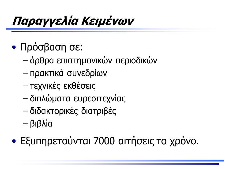 Παραγγελία Κειμένων •Πρόσβαση σε: –άρθρα επιστημονικών περιοδικών –πρακτικά συνεδρίων –τεχνικές εκθέσεις –διπλώματα ευρεσιτεχνίας –διδακτορικές διατριβές –βιβλία •Εξυπηρετούνται 7000 αιτήσεις το χρόνο.