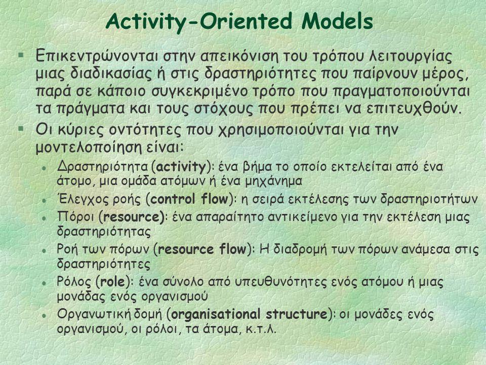 Μοντέλα Προσανατολισμένα σε Δραστηριότητες Activity-Oriented Models
