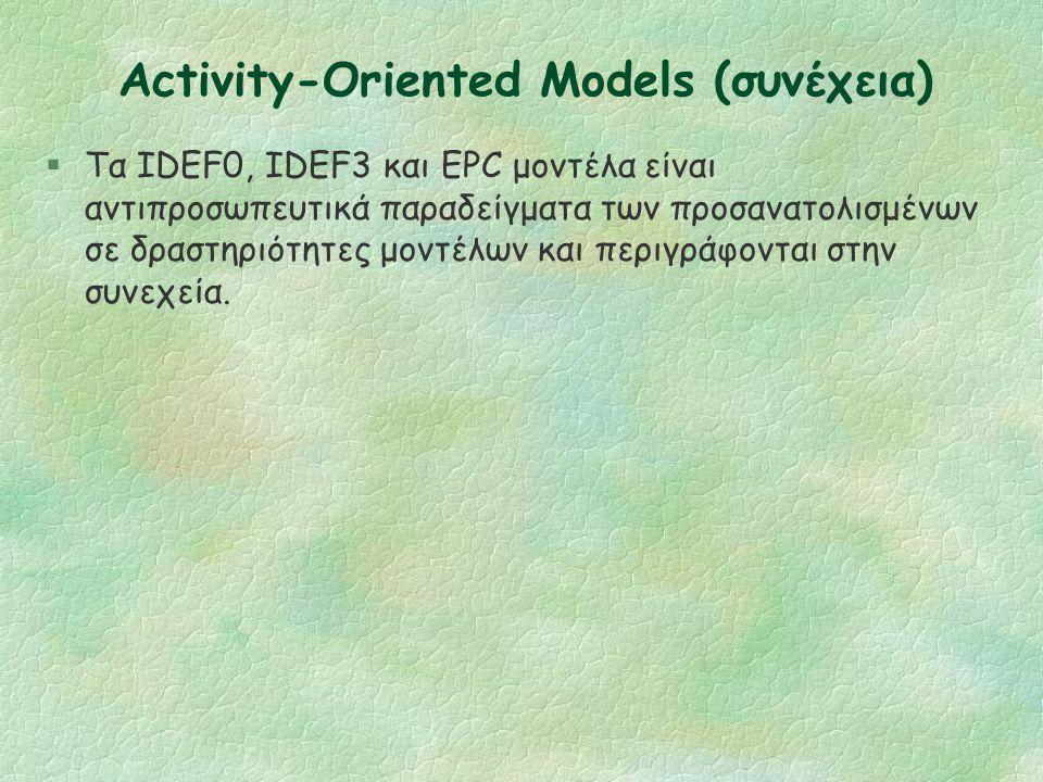 Activity-Oriented Models §Επικεντρώνονται στην απεικόνιση του τρόπου λειτουργίας μιας διαδικασίας ή στις δραστηριότητες που παίρνουν μέρος, παρά σε κά