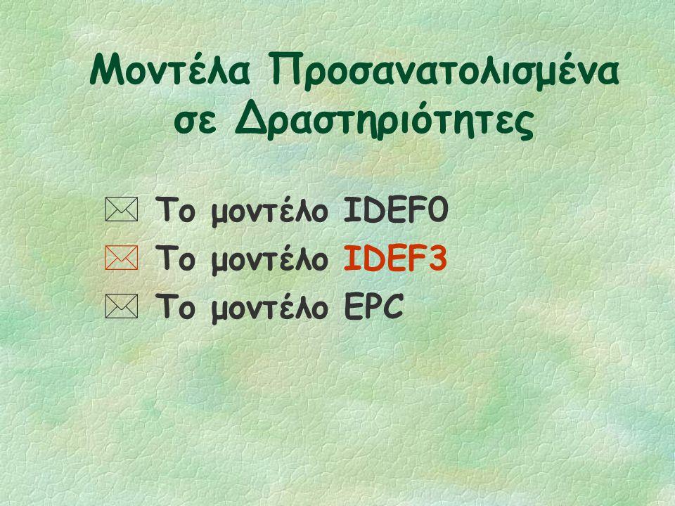 Activity-Oriented Models (συνέχεια) §Τα IDEF0, IDEF3 και EPC μοντέλα είναι αντιπροσωπευτικά παραδείγματα των προσανατολισμένων σε δραστηριότητες μοντέ