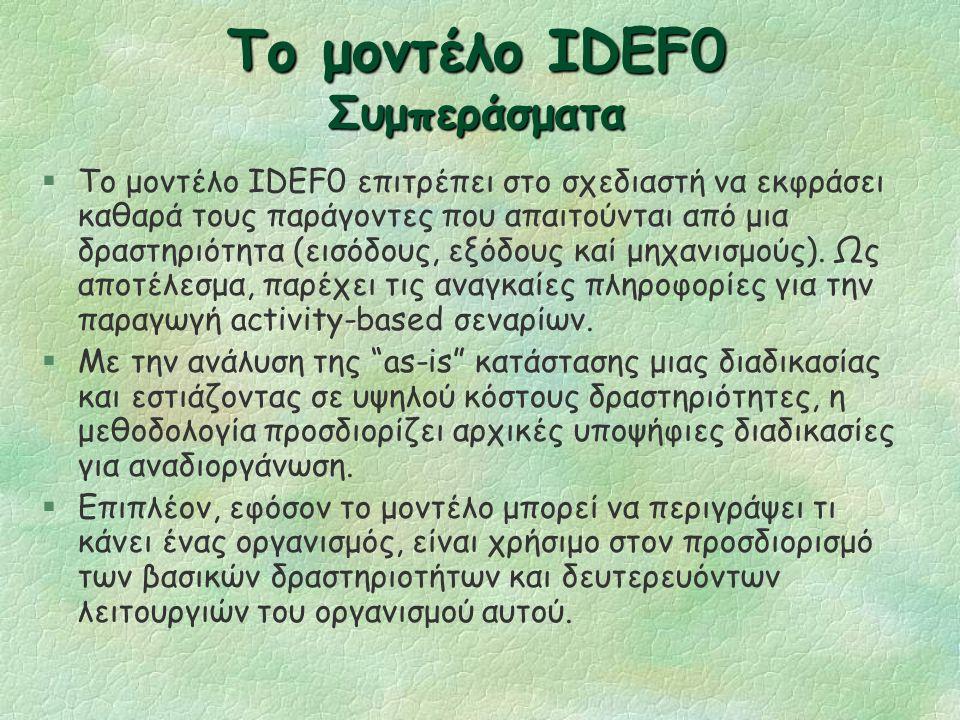Το μοντέλο IDEF0 (συνεχ.) §Παρουσιάζει τι κάνει ένας οργανισμός §Δεν υποστηρίζει την περιγραφή του τρόπου με τον οποίο γίνεται η εργασία αναφορικά με