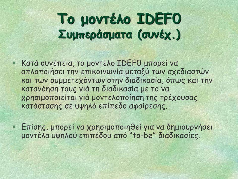 Το μοντέλο IDEF0 Συμπεράσματα (συνέχ.) §Τα μοντέλα IDEF0 είναι ανακριβή όσον αναφορά τις λεπτομέρειες του αρχικού διαδικαστικού σταδίου και ασαφή στην