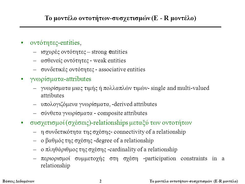 Βάσεις Δεδομένων 2 Το μοντέλο οντοτήτων-συσχετισμών (E-R μοντέλο) •oντότητες-entities, –ισχυρές οντότητες – strong e ntities –ασθενείς οντότητες - wea