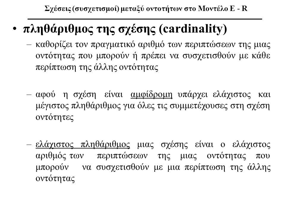 •πληθάριθμος της σχέσης (cardinality) –καθορίζει τον πραγματικό αριθμό των περιπτώσεων της μιας οντότητας που μπορούν ή πρέπει να συσχετισθούν με κάθε