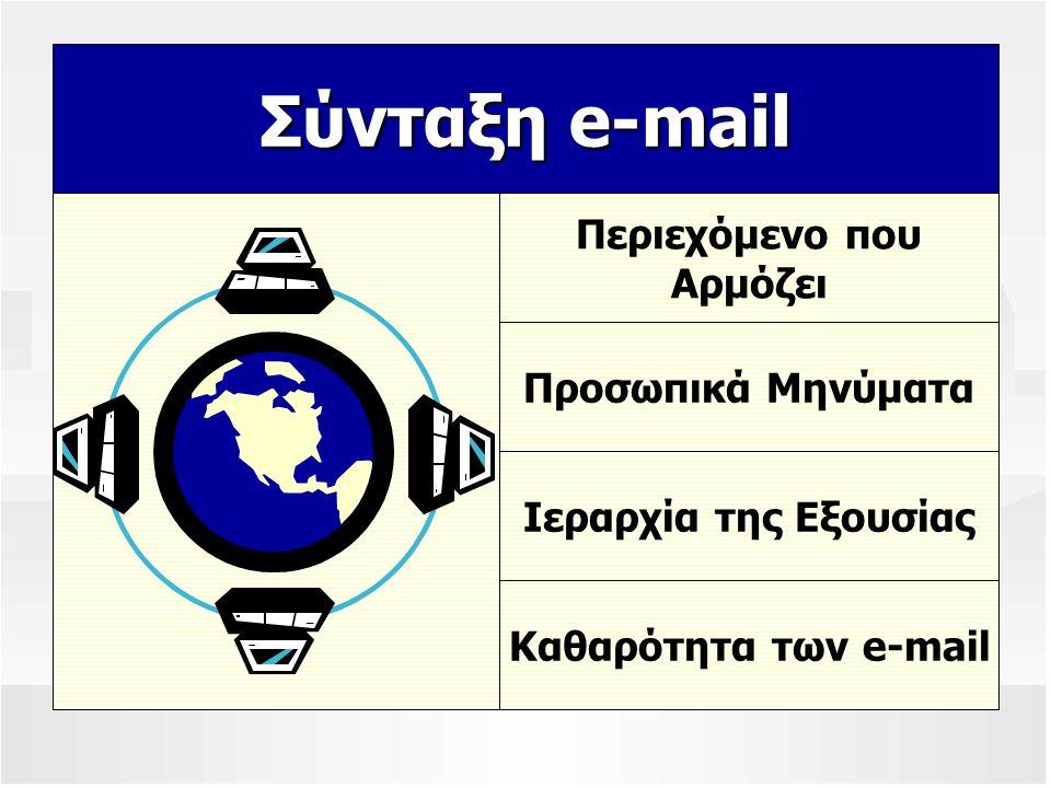 Σύνταξη e-mail Περιεχόμενο που Αρμόζει Προσωπικά Μηνύματα Ιεραρχία της Εξουσίας Καθαρότητα των e-mail