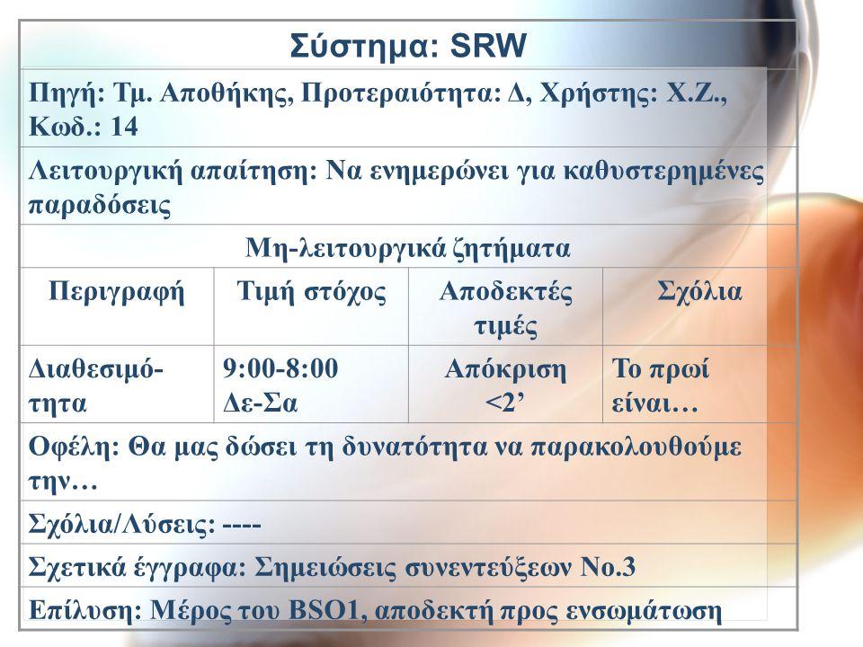 Σύστημα: SRW Πηγή: Τμ. Αποθήκης, Προτεραιότητα: Δ, Χρήστης: Χ.Ζ., Κωδ.: 14 Λειτουργική απαίτηση: Να ενημερώνει για καθυστερημένες παραδόσεις Μη-λειτου