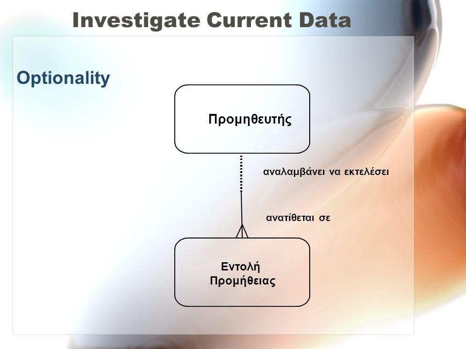 Investigate Current Data Optionality Εντολή Προμήθειας Προμηθευτής αναλαμβάνει να εκτελέσει ανατίθεται σε
