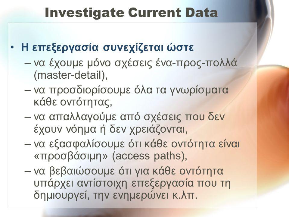 Investigate Current Data •Η επεξεργασία συνεχίζεται ώστε –να έχουμε μόνο σχέσεις ένα-προς-πολλά (master-detail), –να προσδιορίσουμε όλα τα γνωρίσματα