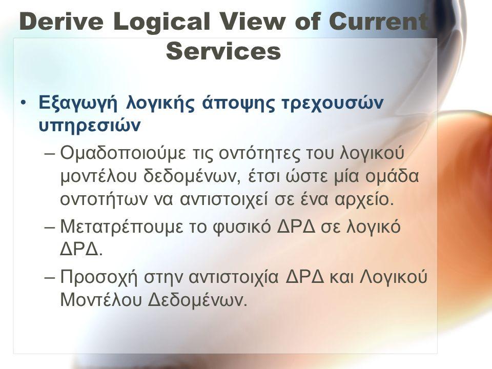 Derive Logical View of Current Services •Εξαγωγή λογικής άποψης τρεχουσών υπηρεσιών –Ομαδοποιούμε τις οντότητες του λογικού μοντέλου δεδομένων, έτσι ώ