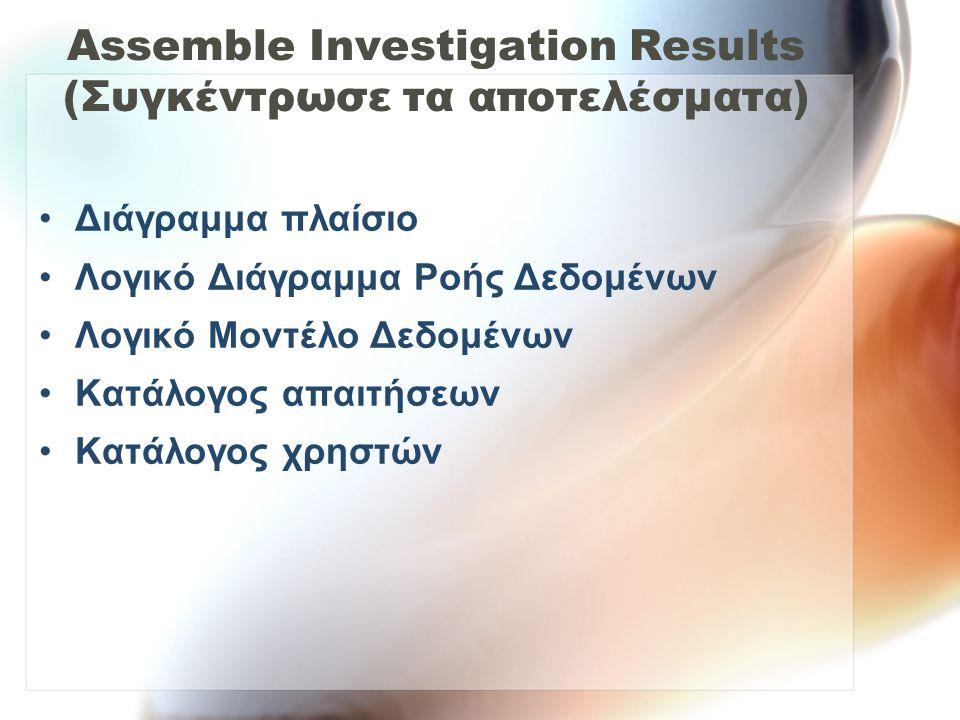Assemble Investigation Results (Συγκέντρωσε τα αποτελέσματα) •Διάγραμμα πλαίσιο •Λογικό Διάγραμμα Ροής Δεδομένων •Λογικό Μοντέλο Δεδομένων •Κατάλογος