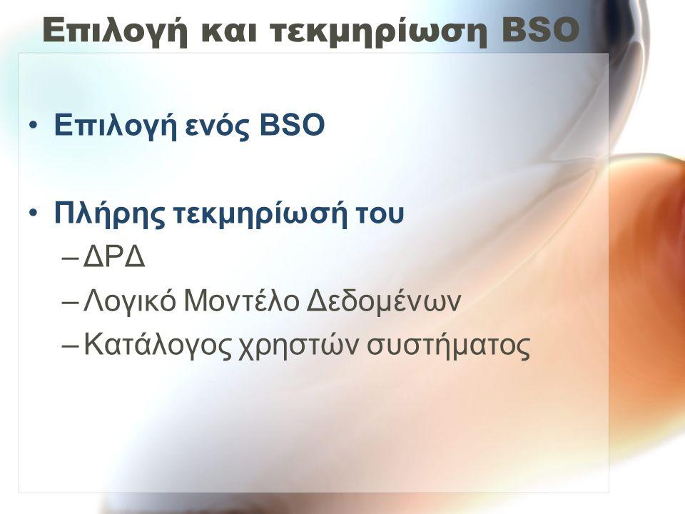 Επιλογή και τεκμηρίωση BSO •Επιλογή ενός BSO •Πλήρης τεκμηρίωσή του –ΔΡΔ –Λογικό Μοντέλο Δεδομένων –Κατάλογος χρηστών συστήματος
