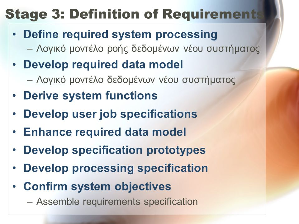 •Define required system processing –Λογικό μοντέλο ροής δεδομένων νέου συστήματος •Develop required data model –Λογικό μοντέλο δεδομένων νέου συστήματος •Derive system functions •Develop user job specifications •Enhance required data model •Develop specification prototypes •Develop processing specification •Confirm system objectives –Assemble requirements specification