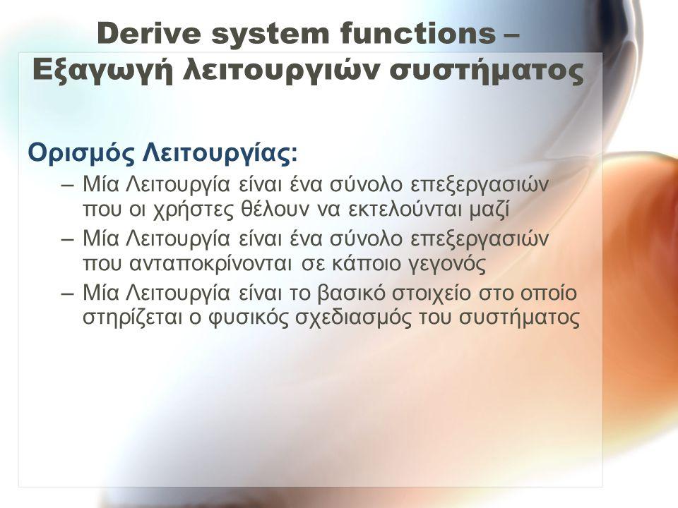 Derive system functions – Εξαγωγή λειτουργιών συστήματος Ορισμός Λειτουργίας: –Μία Λειτουργία είναι ένα σύνολο επεξεργασιών που οι χρήστες θέλουν να ε