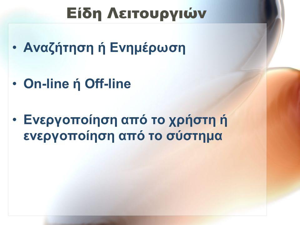 Είδη Λειτουργιών •Αναζήτηση ή Ενημέρωση •On-line ή Off-line •Ενεργοποίηση από το χρήστη ή ενεργοποίηση από το σύστημα