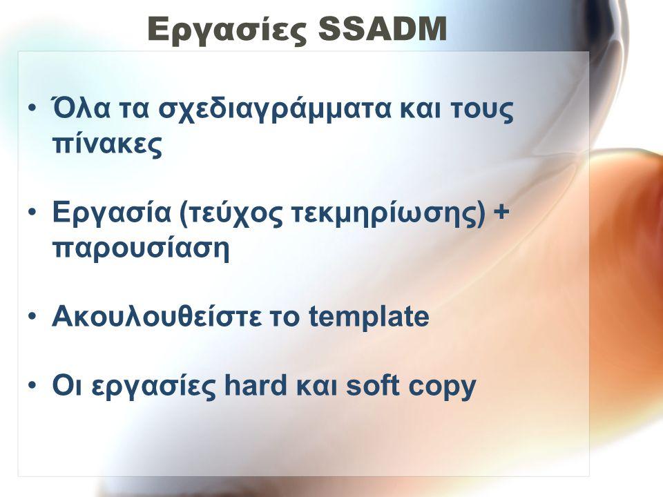 Εργασίες SSADM •Όλα τα σχεδιαγράμματα και τους πίνακες •Εργασία (τεύχος τεκμηρίωσης) + παρουσίαση •Ακουλουθείστε το template •Οι εργασίες hard και sof