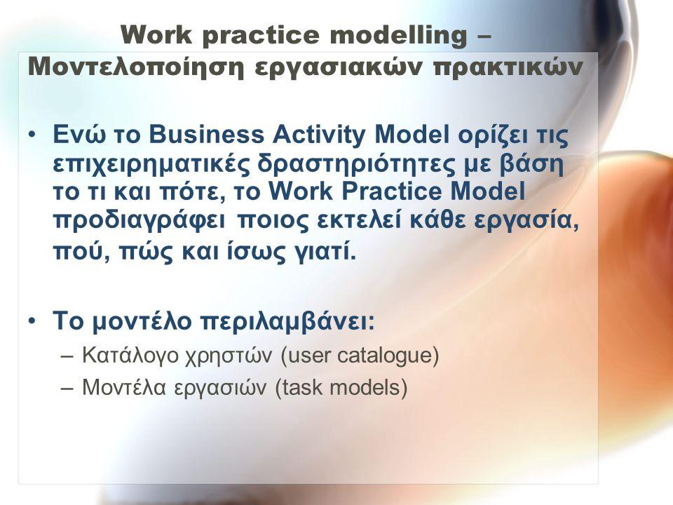 Work practice modelling – Μοντελοποίηση εργασιακών πρακτικών •Ενώ το Business Activity Model ορίζει τις επιχειρηματικές δραστηριότητες με βάση το τι κ