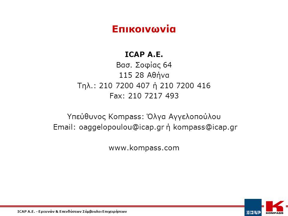 ICAP A.E. - Ερευνών & Επενδύσεων Σύμβουλοι Επιχειρήσεων Επικοινωνία ICAP A.E.