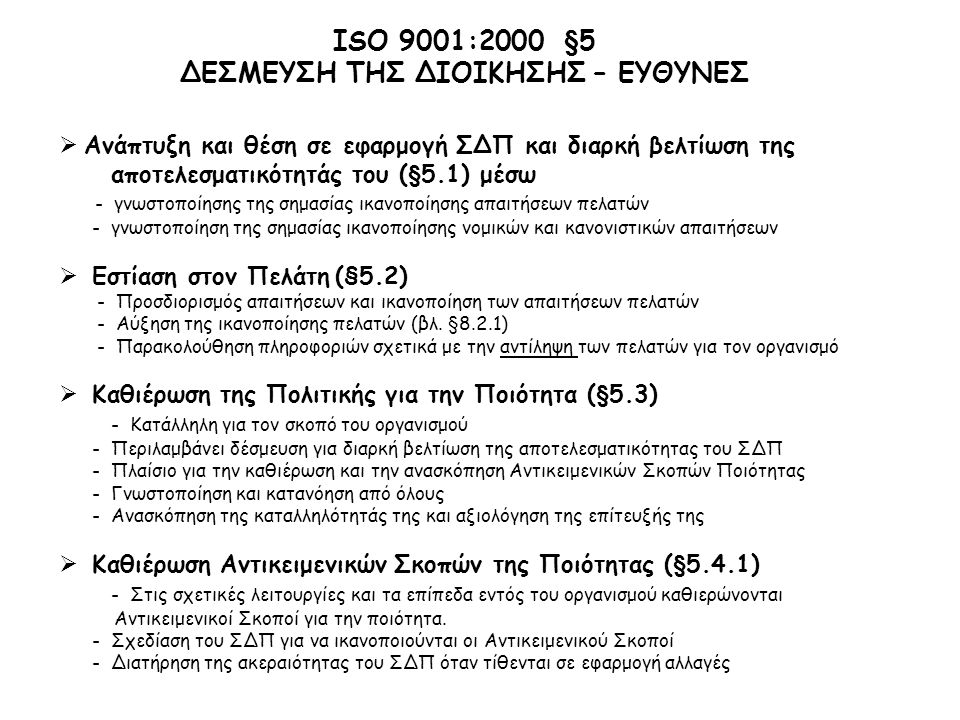 ΙSO 9001:2000 §5 ΔΕΣΜΕΥΣΗ ΤΗΣ ΔΙΟΙΚΗΣΗΣ – ΕΥΘΥΝΕΣ  Ανάπτυξη και θέση σε εφαρμογή ΣΔΠ και διαρκή βελτίωση της αποτελεσματικότητάς του (§5.1) μέσω - γνωστοποίησης της σημασίας ικανοποίησης απαιτήσεων πελατών - γνωστοποίηση της σημασίας ικανοποίησης νομικών και κανονιστικών απαιτήσεων  Εστίαση στον Πελάτη (§5.2) - Προσδιορισμός απαιτήσεων και ικανοποίηση των απαιτήσεων πελατών - Αύξηση της ικανοποίησης πελατών (βλ.