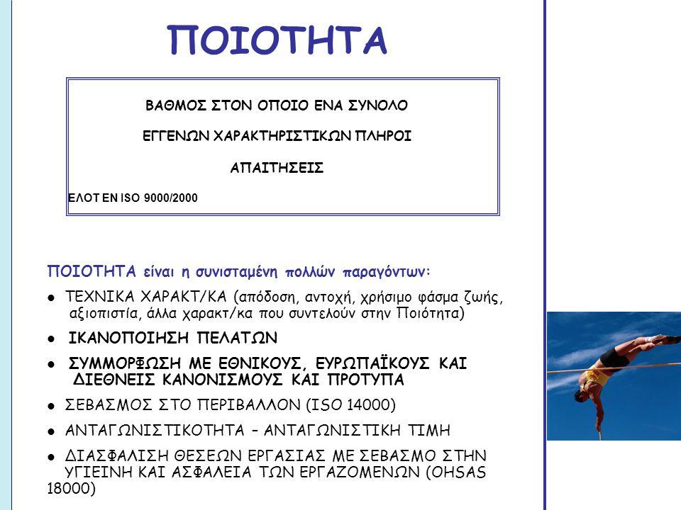 ΠΟΙΟΤΗΤΑ ΒΑΘΜΟΣ ΣΤΟΝ ΟΠΟΙΟ ΕΝΑ ΣΥΝΟΛΟ ΕΓΓΕΝΩΝ ΧΑΡΑΚΤΗΡΙΣΤΙΚΩΝ ΠΛΗΡΟΙ ΑΠΑΙΤΗΣΕΙΣ ΕΛΟΤ ΕΝ ISO 9000/2000 ΠΟΙΟΤΗΤΑ είναι η συνισταμένη πολλών παραγόντων:  ΤΕΧΝΙΚΑ ΧΑΡΑΚΤ/ΚΑ (απόδοση, αντοχή, χρήσιμο φάσμα ζωής, αξιοπιστία, άλλα χαρακτ/κα που συντελούν στην Ποιότητα)  ΙΚΑΝΟΠΟΙΗΣΗ ΠΕΛΑΤΩΝ  ΣΥΜΜΟΡΦΩΣΗ ΜΕ ΕΘΝΙΚΟΥΣ, ΕΥΡΩΠΑΪΚΟΥΣ ΚΑΙ ΔΙΕΘΝΕΙΣ ΚΑΝΟΝΙΣΜΟΥΣ ΚΑΙ ΠΡΟΤΥΠΑ  ΣΕΒΑΣΜΟΣ ΣΤΟ ΠΕΡΙΒΑΛΛΟΝ (ISO 14000)  ΑΝΤΑΓΩΝΙΣΤΙΚΟΤΗΤΑ – ΑΝΤΑΓΩΝΙΣΤΙΚΗ ΤΙΜΗ  ΔΙΑΣΦΑΛΙΣΗ ΘΕΣΕΩΝ ΕΡΓΑΣΙΑΣ ΜΕ ΣΕΒΑΣΜΟ ΣΤΗΝ ΥΓΙΕΙΝΗ ΚΑΙ ΑΣΦΑΛΕΙΑ ΤΩΝ ΕΡΓΑΖΟΜΕΝΩΝ (OHSAS 18000)