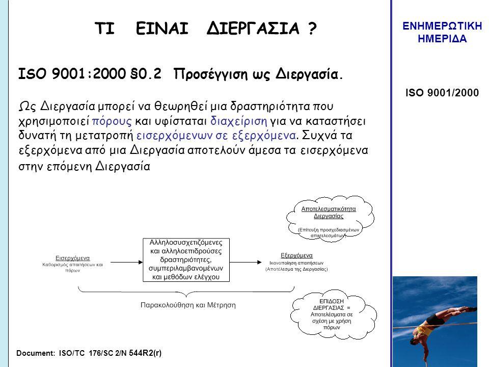 ΕΝΗΜΕΡΩΤΙΚΗ ΗΜΕΡΙΔΑ ISO 9001/2000 ΤΙ ΕΙΝΑΙ ΔΙΕΡΓΑΣΙΑ ? ISO 9001:2000 §0.2 Προσέγγιση ως Διεργασία. Ως Διεργασία μπορεί να θεωρηθεί μια δραστηριότητα π
