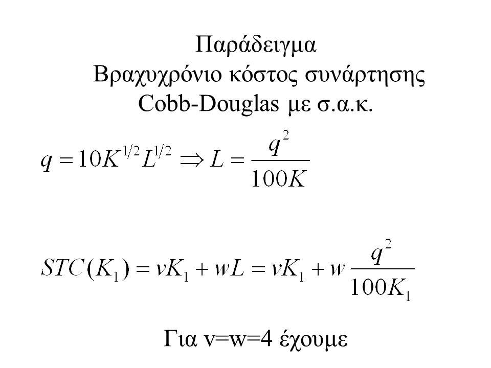 Παράδειγμα Βραχυχρόνιο κόστος συνάρτησης Cobb-Douglas με σ.α.κ. Για v=w=4 έχουμε