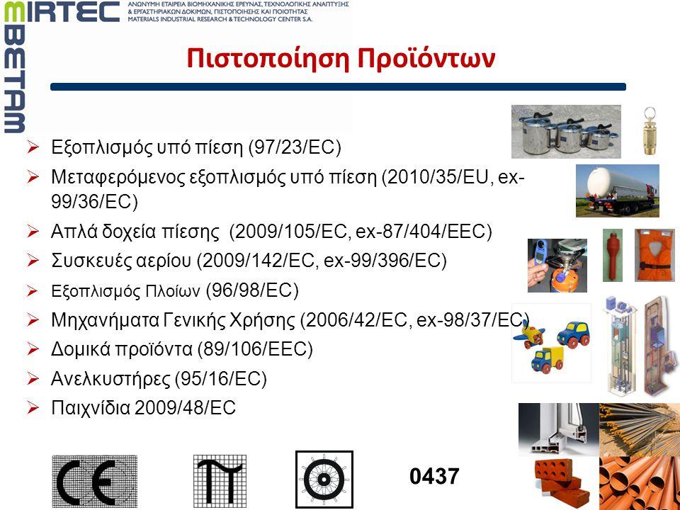 Πιστοποίηση Προϊόντων  Εξοπλισμός υπό πίεση (97/23/EC)  Μεταφερόμενος εξοπλισμός υπό πίεση (2010/35/EU, ex- 99/36/EC)  Απλά δοχεία πίεσης (2009/105
