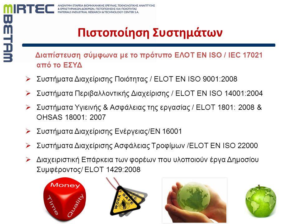 Πιστοποίηση Συστημάτων Διαπίστευση σύμφωνα με το πρότυπο ΕΛΟΤ ΕΝ ISO / IEC 17021 από το ΕΣΥΔ  Συστήματα Διαχείρισης Ποιότητας / ELOT EN ISO 9001:2008