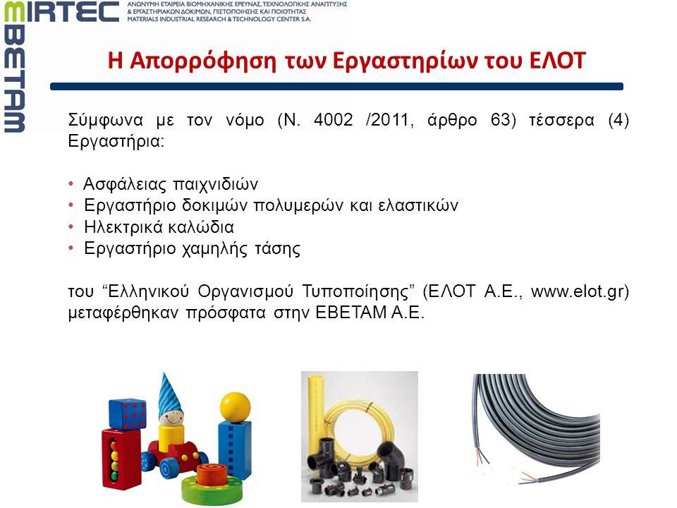 Σύμφωνα με τον νόμο (N. 4002 /2011, άρθρο 63) τέσσερα (4) Εργαστήρια: • Ασφάλειας παιχνιδιών • Εργαστήριο δοκιμών πολυμερών και ελαστικών • Ηλεκτρικά