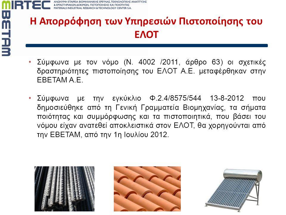 Υπηρεσίες Πιστοποίησης Προϊόντων  Πιστοποίηση λειτουργίας πυροσβεστήρων EN 3, EN1866 και θυρών πυρασφάλειας  Χάλυβα οπλισμού σκυροδέματος EN 10080, EΛOT 1421  Πιστοποίηση Διαδικασιών συγκόλλησης και συγκολλητών EN ISO 15614, EN ISO 9606, EN 1418, EN 287  Συγκολλητικά κονιάματα πλακιδίων (class 3/C), EΛOT EN 12004 E2: 2008  OEKO-TEX® Πρότυπο 100 and 1000 για πιστοποίηση υφασμάτων  Ηλιακοί συλλέκτες – SOLAR KEYMARK (CEN)  Ηλεκτρικά καλώδια – CENELEC, HAR σήμανση