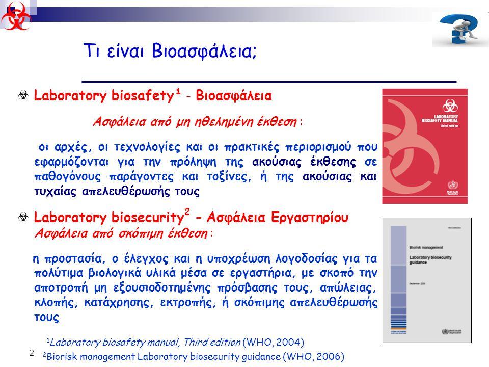 2 Τι είναι Βιοασφάλεια; Laboratory biosafety¹ - Bιοασφάλεια Ασφάλεια από μη ηθελημένη έκθεση : οι αρχές, οι τεχνολογίες και οι πρακτικές περιορισμού π