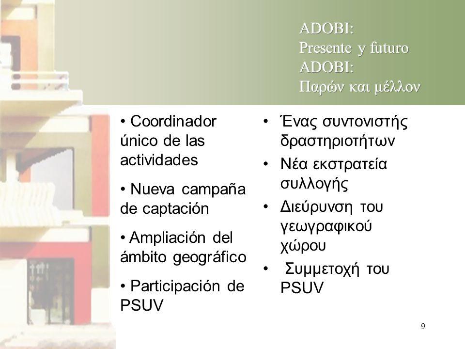 9 • Coordinador único de las actividades • Nueva campaña de captación • Ampliación del ámbito geográfico • Participación de PSUV •Ένας συντονιστής δραστηριοτήτων •Νέα εκστρατεία συλλογής •Διεύρυνση του γεωγραφικού χώρου • Συμμετοχή του PSUV