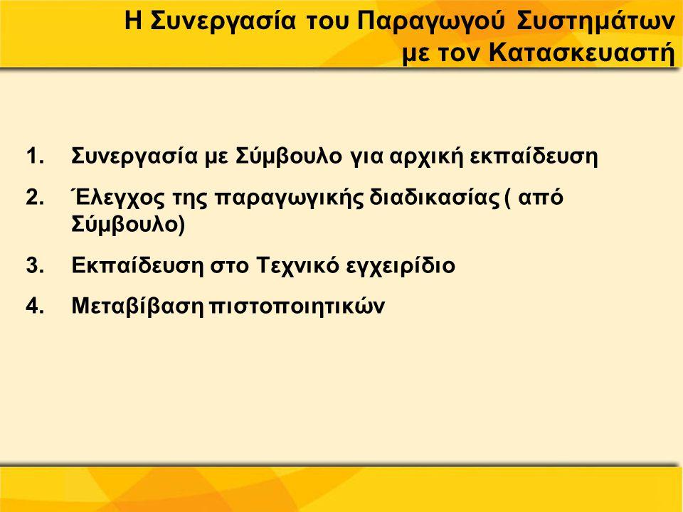 Η Συνεργασία του Παραγωγού Συστημάτων με τον Κατασκευαστή 1.Συνεργασία με Σύμβουλο για αρχική εκπαίδευση 2.Έλεγχος της παραγωγικής διαδικασίας ( από Σ